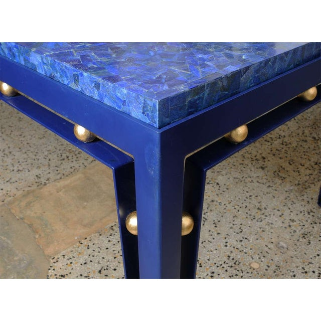 Important Iron Library Table with Lapis Lazuli Top in the Manner of Royere - Image 6 of 8