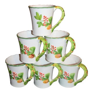 Italian Majolica Holiday Mugs - Set of 6