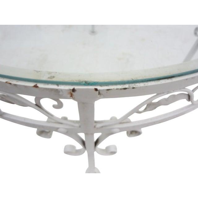 Woodard Round White Iron Patio Coffee Table - Image 6 of 7