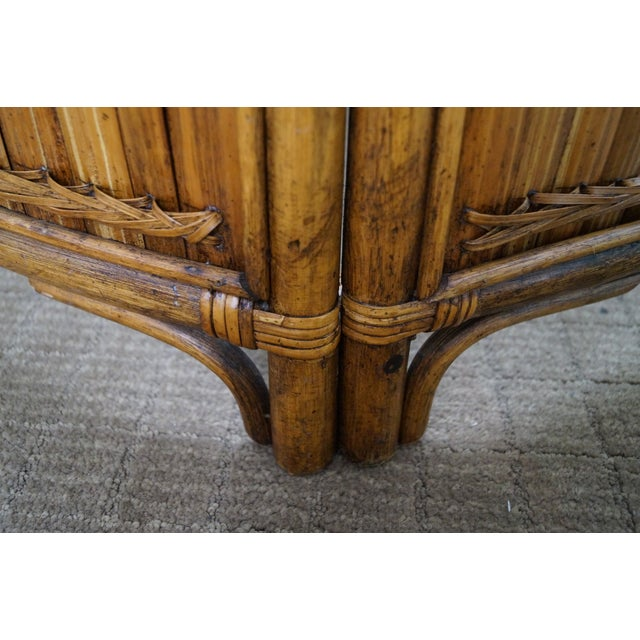 Vintage Bamboo Rattan Glass Top Coffee Table - Image 4 of 7