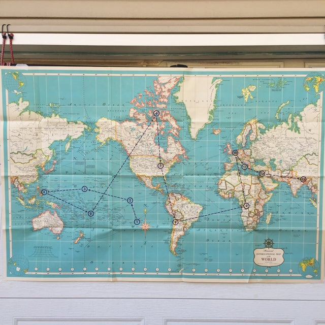 Vintage International Map of the World by Hammond - Image 2 of 10