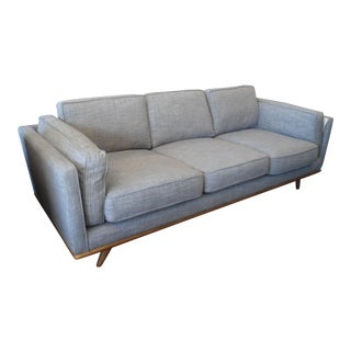 Pebble Gray Sofa with Honey Oak Base & Legs