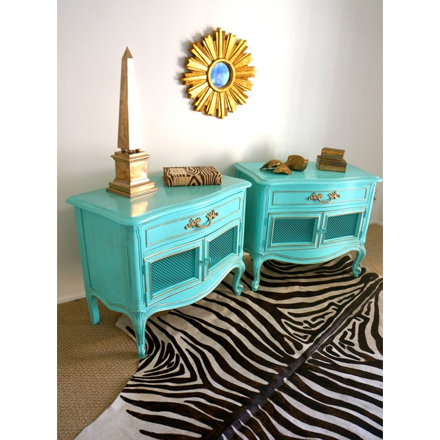 French Style Turquoise Nightstands - Pair - Image 7 of 10