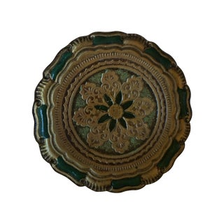Vintage Florentine Green & Gold Tray from Italy