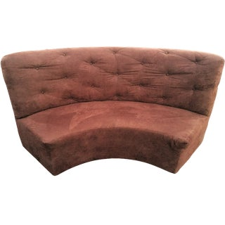 Brown Microfiber Tufted Oval Couch