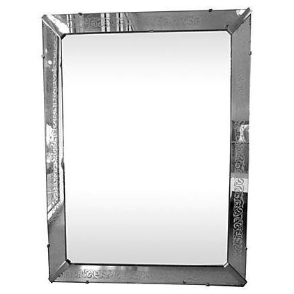 Large Etched Mirror Framed Mirror - Image 1 of 5