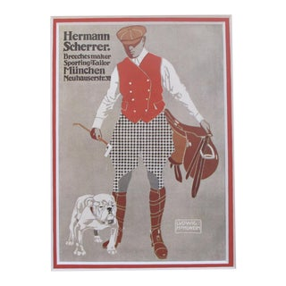 1920's British Art Deco Horseman and Bulldog Matted Poster