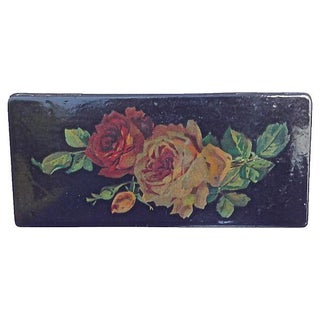 Antique Papier-Mâché Rose Pencil Box