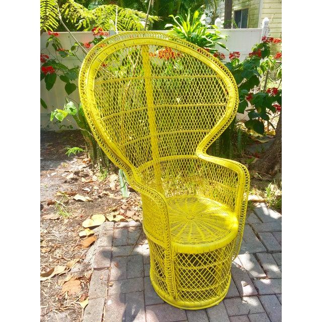 Mid-Century Rattan Wicker Fan-Back Peacock Chair - Image 3 of 9
