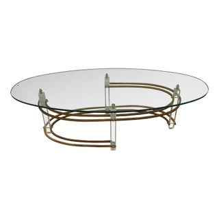 Lucite & Brass Based Oval Coffee Table
