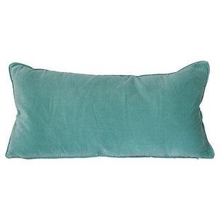 Seafoam Blue Velvet Lumbar Pillow