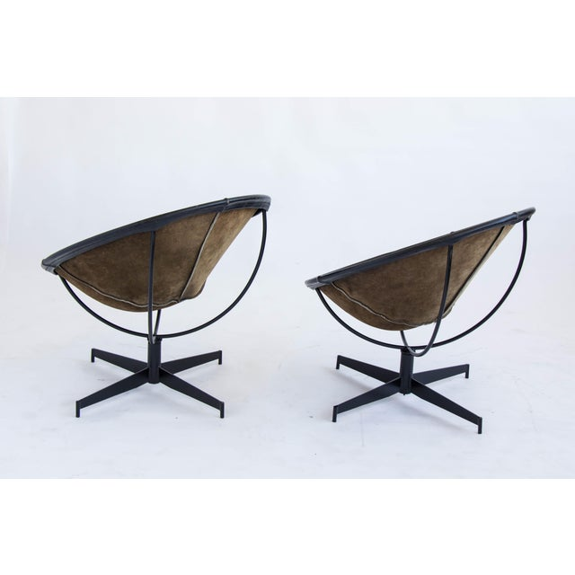 Leather Bucket Chairs by William Katavolos - Pair - Image 6 of 9