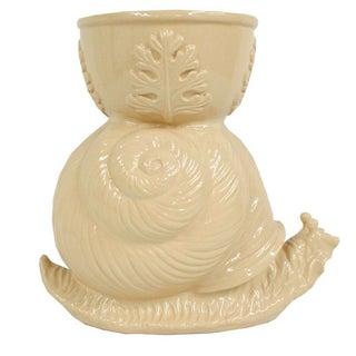 Vintage Beige Ceramic Garden Snail Planter