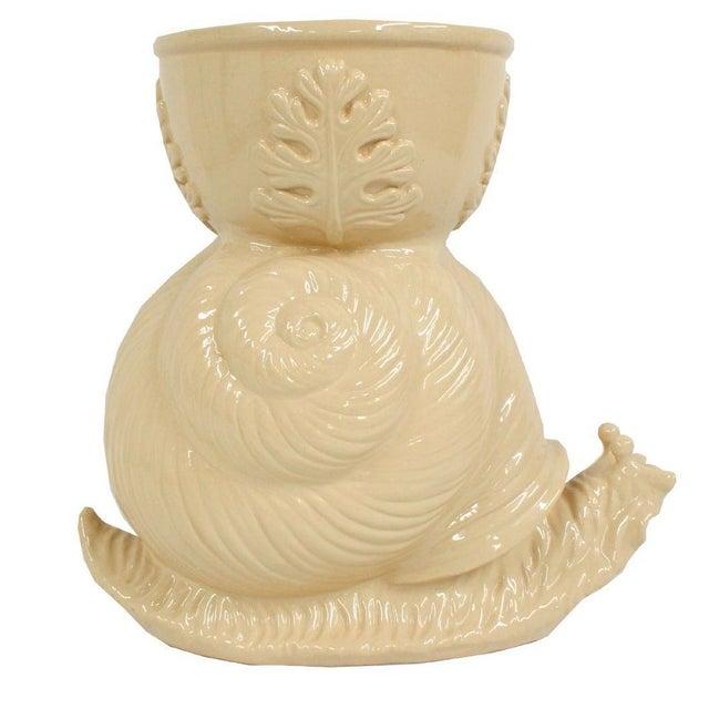 Image of Vintage Beige Ceramic Garden Snail Planter