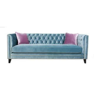 Pasargad Victoria Collecion Tufted Blue Sofa