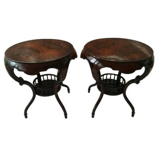 Tiered Round Carved Side Tables- A Pair