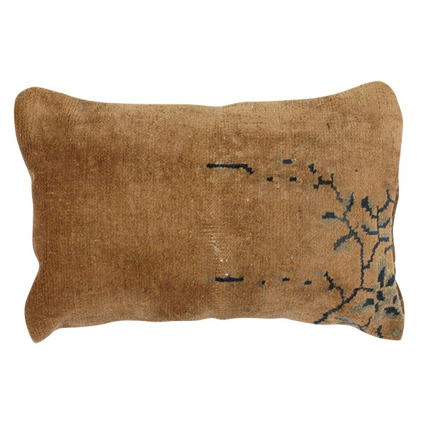Antique Chinese Rug Fragment Pillow - Image 1 of 4