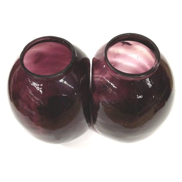 Image of Twin Vintage Amethyst Glass Vases Heather Plum - 2
