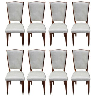 French Art Deco Light Walnut Dining Chairs - Set of 8