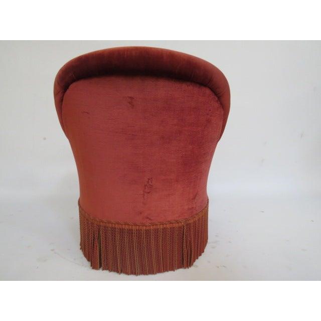 Image of Vintage 1940s Crimson Red Slipper Chair