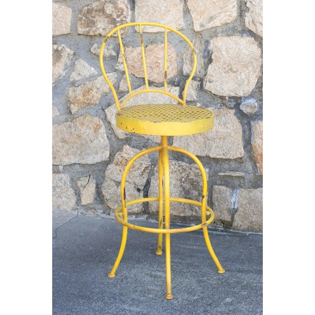 Yellow Metal French Bistro Garden Table & Chairs - Image 5 of 5