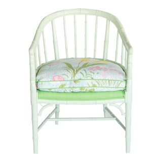 Green Painted Faux Bamboo Wood Armchair