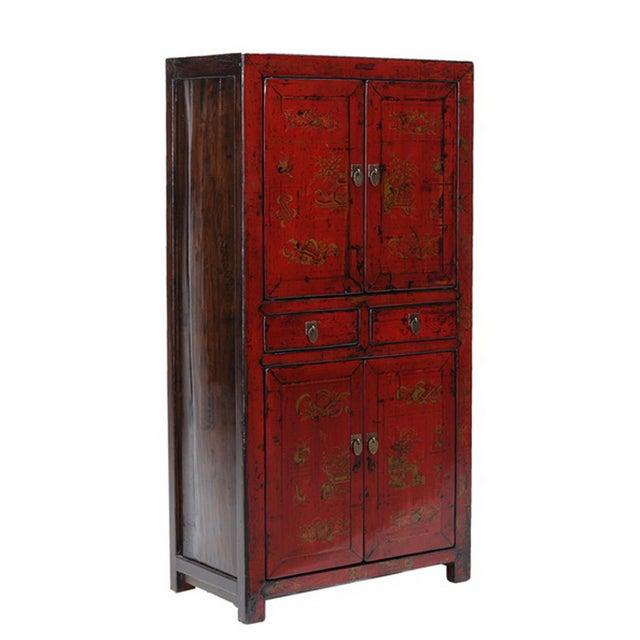Vintage Oriental Red Graphic Storage Dresser Cabin - Image 2 of 5