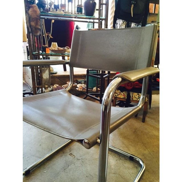 Italian Smoky Grey Leather Sling Chrome Chair - Image 4 of 10
