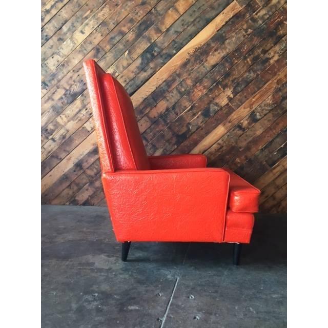 Vibrant Mid Century Orange Vinyl Lounge Chair - Image 3 of 7