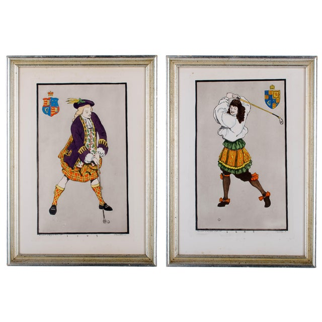 Early Golfing Costume Prints - A Pair - Image 1 of 5