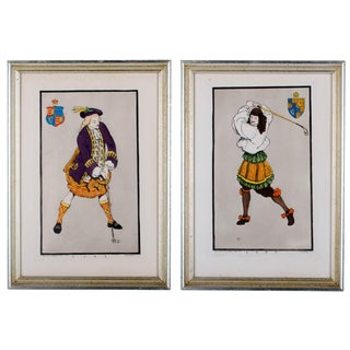 Early Golfing Costume Prints - A Pair