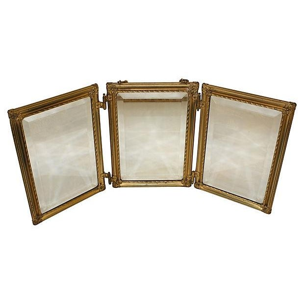 19th C. Celluloid Trifold Beveled Mirror - Image 5 of 6