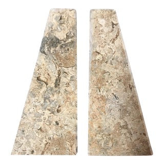 Beige Marble Architectural Bookends - A Pair