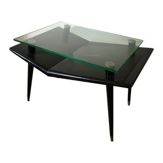 Mid-Century Modern Black Wood & Glass Side Table