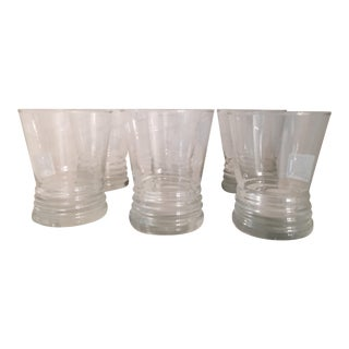 Vintage Ribbed Base Cocktail Glasses - Set of 6