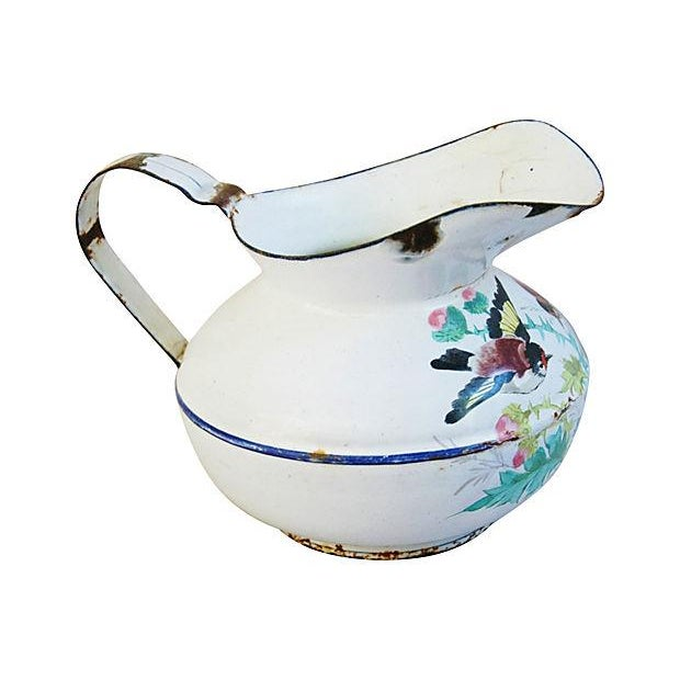 Antique 1930s French Painted Porcelain Pitcher - Image 2 of 6