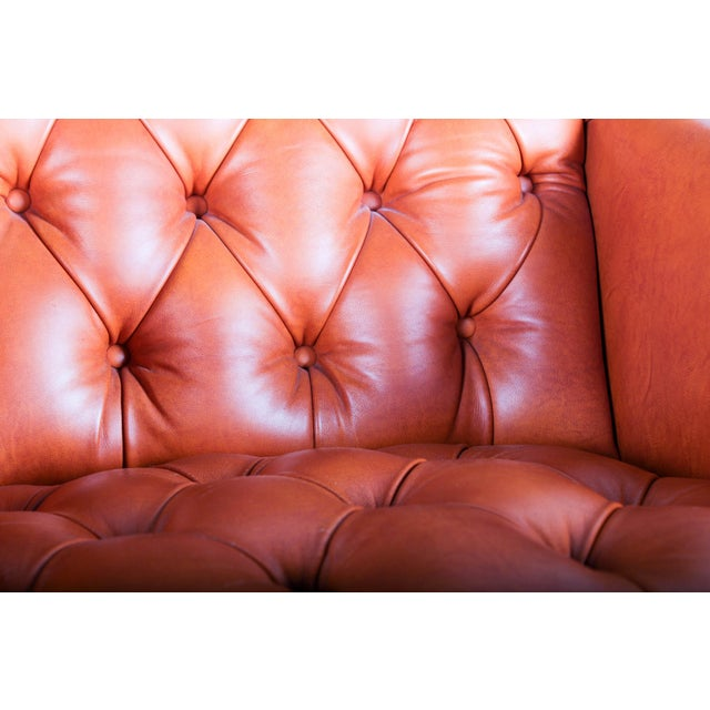 Orange Tufted Leather Queen Anne Mahogany Armchair - Image 11 of 11
