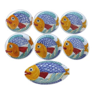 Glazed Italian Ceramic Fish Platter & Plates - Set of 7