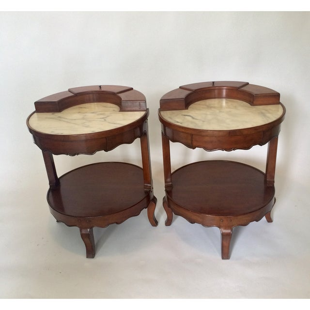 French Provincial Marble Top Side Tables - Pair - Image 11 of 11