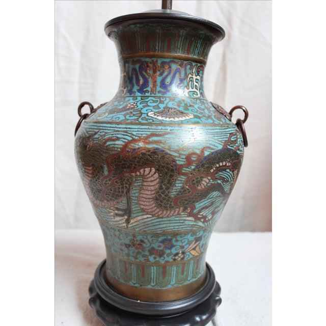 Vintage Japanese Champleve Urn Lamp - Image 3 of 5
