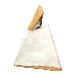 White & Beige Ceramic Pyramid Sculpture