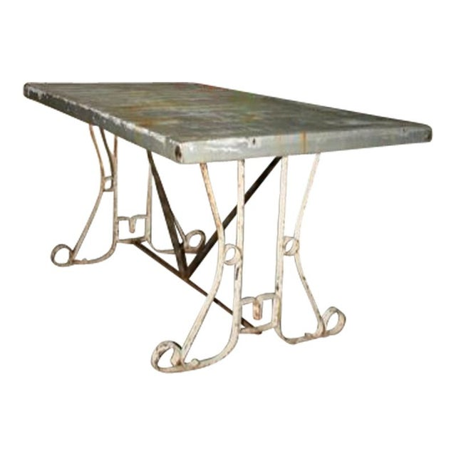 Zinc topped table with decorative metal base chairish - Decorative metal table bases ...