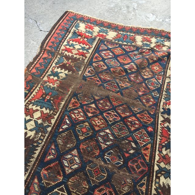 "Antique Russian Kazak Runner - 3'4"" X 7' - Image 4 of 7"