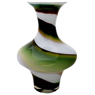 Green & White Swirl Art Glass Vase