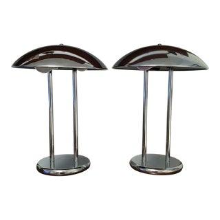 Mid Century Chrome Mushroom Lamps - a Pair