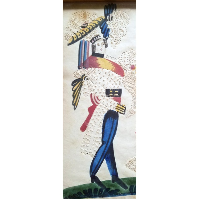 Charming American or Continental Folk Art Pin-prick Painting - Image 4 of 5