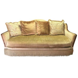 Camel Back Champagne Fringe Skirt Sofa