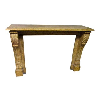 Antique Petite Yellow Marble Mantel