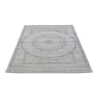 Dark Gray Trellis Rug with Medallion Pattern - 5'3''x7'7''
