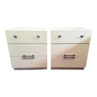 Mid-Century White Lacquer Nightstands - a Pair